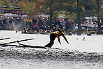 Boston, Rowing, 2006 Head of the Charles Regatta, Peking University, The visiting crew collided with the MIT crew beneath the Weeks Bridge and rowed on with a damaged bow until the bow folded beneath the Eliot Bridge and the Pocock shell sank. Cockswain abandoning ship, Charles River, Cambridge, Massachusetts, USA,