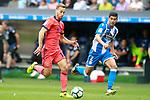 Deportivo de la Coruna's Juanfran Moreno (r) and Real Sociedad's Sergio Canales during La Liga match. September 10,2017. (ALTERPHOTOS/Acero)
