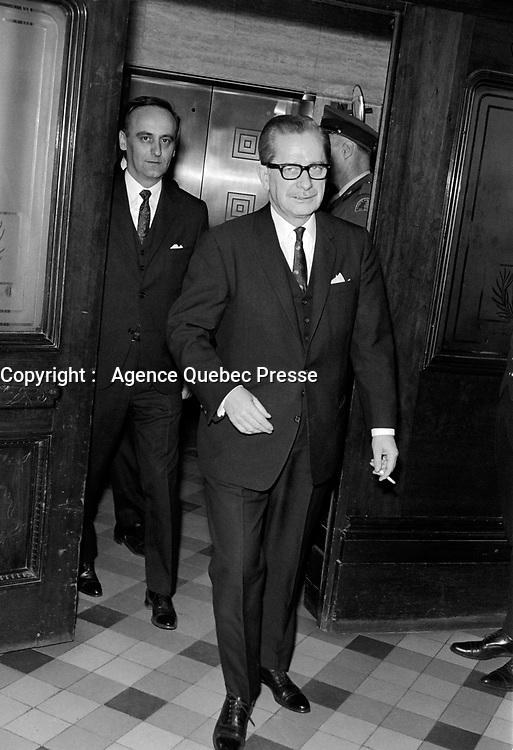 Daniel Johnson, Entre le 25 et le 31 mars 1968<br /> <br /> Photographe : Photo Moderne