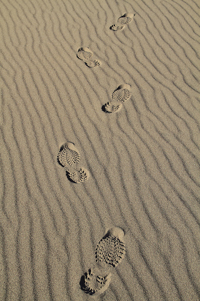 Footprints in Great Sand Dunes National Park, Colorado. John offers private photo trips to Great Sand Dunes National Park and all of Colorado. All year long.