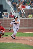 Rhett Aplin (21) of the Idaho Falls Chukars at bat against the Orem Owlz at Melaleuca Field on July 14, 2019 in Idaho Falls, Idaho. The Owlz defeated the Chukars 6-2. (Stephen Smith/Four Seam Images)