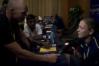 USA forward Abby Wambach speaks to the media during a press conference at the team hotel in Tianjin, China on September 21, 2007.