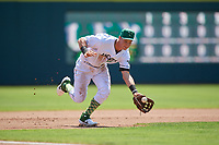 Augusta GreenJackets third baseman Jacob Gonzalez (18) fields a ground ball during a South Atlantic League game against the Lexington Legends on April 30, 2019 at SRP Park in Augusta, Georgia.  Augusta defeated Lexington 5-1.  (Mike Janes/Four Seam Images)