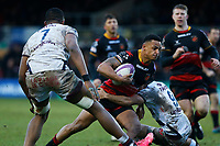 Ashton Hewitt of Dragons is tackled by Jules Gimbert of Bordeaux Begles during the European Challenge Cup match between Dragons and Bordeaux Begles at Rodney Parade, Newport, Wales, UK. 20 January 2018