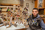 Patrick Dennehy Beaufort with the fairy houses he has made