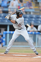 Delmarva Shorebirds left fielder Gregory Lorenzo #25 awaits a pitch during opening night game against the Asheville Tourists at McCormick Field on April 3, 2014 in Asheville, North Carolina. The Tourists defeated the Shorebirds 8-3. (Tony Farlow/Four Seam Images)