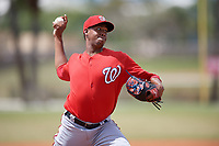 Washington Nationals pitcher Luis Reyes (39) delivers a pitch during a minor league Spring Training game against the St. Louis Cardinals on March 27, 2017 at the Roger Dean Stadium Complex in Jupiter, Florida.  (Mike Janes/Four Seam Images)
