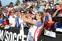 Cary, NC - Sunday October 22, 2017: McCall Zerboni takes a selfie with fans after an International friendly match between the Women's National teams of the United States (USA) and South Korea (KOR) at Sahlen's Stadium at WakeMed Soccer Park. The U.S. won the game 6-0.