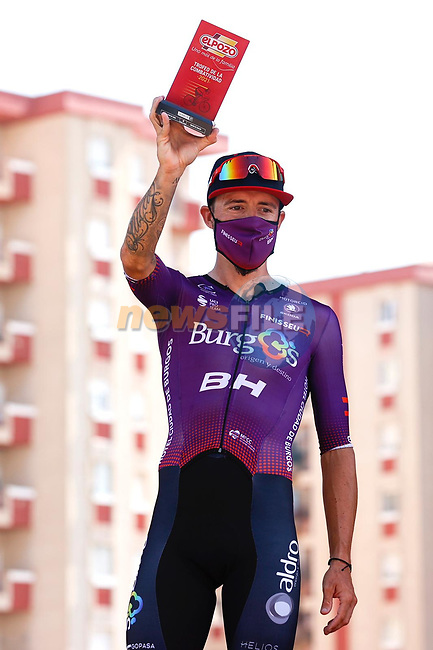 Angel Madrazo Ruiz (ESP) Burgos-BH most aggressive rider from yesterday's stage at sign on before Stage 5 of La Vuelta d'Espana 2021, running 184.4km from Tarancón to Albacete, Spain. 18th August 2021.    <br /> Picture: Luis Angel Gomez/Photogomezsport | Cyclefile<br /> <br /> All photos usage must carry mandatory copyright credit (© Cyclefile | Luis Angel Gomez/Photogomezsport)