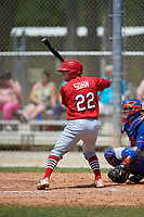 St. Louis Cardinals Andrew Sohn (22) bats during a Minor League Spring Training game against the New York Mets on March 31, 2016 at Roger Dean Sports Complex in Jupiter, Florida.  (Mike Janes/Four Seam Images)