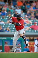 Rochester Red Wings third baseman Miguel Sano (44) at bat during a game against the Indianapolis Indians on July 24, 2018 at Victory Field in Indianapolis, Indiana.  Rochester defeated Indianapolis 2-0.  (Mike Janes/Four Seam Images)