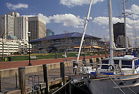 AJ3348, sailboat, yacht, Norfolk, Virginia, Sailboat next to the waterfront on the harbor in Norfolk in the state of Virginia.