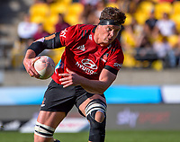 Crusaders' Scott Barrett in action during the Super Rugby Aotearoa match between the Hurricanes and Crusaders at Sky Stadium in Wellington, New Zealand on Sunday, 11 April 2020. Photo: Dave Lintott / lintottphoto.co.nz