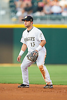 Charlotte Knights second baseman Carlos Sanchez (13) on defense against the Gwinnett Braves at BB&T Ballpark on August 19, 2014 in Charlotte, North Carolina.  The Braves defeated the Knights 10-5.   (Brian Westerholt/Four Seam Images)