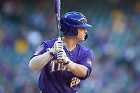 Alex Milazzo (20) of the LSU Tigers at bat against the Baylor Bears in game five of the 2020 Shriners Hospitals for Children College Classic at Minute Maid Park on February 28, 2020 in Houston, Texas. The Bears defeated the Tigers 6-4. (Brian Westerholt/Four Seam Images)