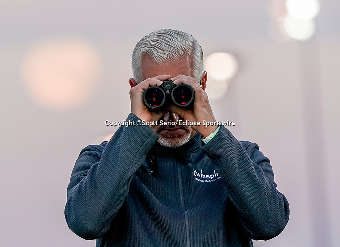 April 27, 2021: Trainer Todd Pletcher watches his horses train as horses prepare for the Kentucky Derby and Kentucky Oaks at Churchill Downs  Scott Serio/Eclipse Sportswire/CSM