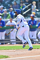 Tennessee Smokies right fielder Eddy Martinez (20) runs to first base during a game against the Jackson Generals at Smokies Stadium on April 11, 2018 in Kodak, Tennessee. The Generals defeated the Smokies 6-4. (Tony Farlow/Four Seam Images)