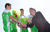 16 SEP 2012 - NICE, FRA - Gilles Veissiere (right), Sport Adjoint of the City of Nice, jokes with Alistair Brownlee (left) and his EC Sartrouville team mates during the medal ceremony for the Triathlon de Nice Côte d'Azur French Grand Prix triathlon series final .(PHOTO (C) 2012 NIGEL FARROW)