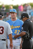 Myrtle Beach Pelicans infielder Jacob Rogers meeting at home plate before a game against the Frederick Keys at Ticketreturn.com Field at Pelicans Ballpark on May 21, 2015 in Myrtle Beach, South Carolina.  Frederick defeated Myrtle Beach 4-3. (Robert Gurganus/Four Seam Images)