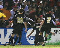 Austin Da Luz #6 of Wake Forest University after scoring during an ACC men's soccer match against the University of Maryland at Ludwig Field, University of Maryland on September 26 2008 in College Park, Maryland. Wake Forest won 4-2 in front of a record sold out crowd of 6,500.