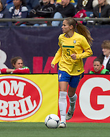 Brazilian defender Erika Santos (5) at midfield. In an international friendly, Canada defeated Brasil, 2-1, at Gillette Stadium on March 24, 2012.