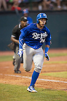 Xavier Fernandez (34) of the Burlington Royals hustles down the first base line against the Bristol Pirates at Boyce Cox Field on July 10, 2015 in Bristol, Virginia.  The Pirates defeated the Royals 9-4. (Brian Westerholt/Four Seam Images)