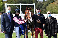 Winner of The Byerley Stud British EBF Novice Stakes (Plus 10) (Div 1) Autumn Twilight ridden by Kieran Shoemark and trained by David Menuisier in the Winners enclosure during Horse Racing at Salisbury Racecourse on 1st October 2020