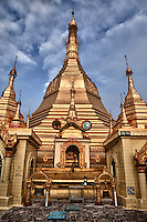 Myanmar, Burma, Yangon.  Sule Pagoda, Buddha Shrine.