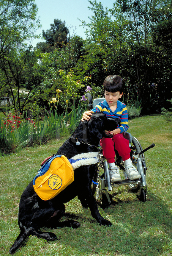 DISABLED CAUCASIAN BOY (7) AND HIS CANINE COMPANION IN THE GARDEN OF HIS HOME. DISABLED BOY AND HIS DOG. SACRAMENTO CALIFORNIA.