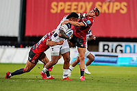 21st August 2020; Kingsholm Stadium, Gloucester, Gloucestershire, England; English Premiership Rugby, Gloucester versus Bristol Bears; Nathan Hughes of Bristol straight-arms Chris Harris of Gloucester out of the way