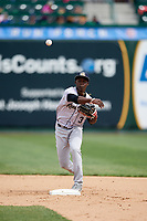 Kane County Cougars shortstop Jasrado Chisholm (3) throws to first base during a game against the South Bend Cubs on May 3, 2017 at Four Winds Field in South Bend, Indiana.  South Bend defeated Kane County 6-2.  (Mike Janes/Four Seam Images)