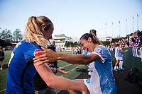 Seattle, WA - Sunday, May 21, 2017: Marta Vieira Da Silva and Beverly Yanez during a regular season National Women's Soccer League (NWSL) match between the Seattle Reign FC and the Orlando Pride at Memorial Stadium.