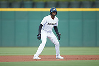Luis Robert (9) of the Charlotte Knights takes his lead off of second base against the Scranton/Wilkes-Barre RailRiders at BB&T BallPark on August 14, 2019 in Charlotte, North Carolina. The Knights defeated the RailRiders 13-12 in ten innings. (Brian Westerholt/Four Seam Images)
