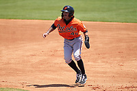 Baltimore Orioles Anthony Servideo (45) leads off first base during a Minor League Spring Training game against the Detroit Tigers on April 14, 2021 at TigerTown in Lakeland, Florida.  (Mike Janes/Four Seam Images)