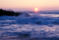 Sunset with beach, waves and ocean, area of Puako, South Kohala District, Island of Hawaii