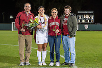 STANFORD, CA - October 21, 2012: Alina Garciamendez with her family during the Senior Day celebration after the Stanford vs Washington women's soccer match in Stanford, California.  Stanford won 3-0.