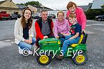 Daniel Lenihan O'Regan ready for road on his tractor at the Abbeydorney Vintage Tractor run on Sunday. L to r: Lily Lenihan, Paul O'Regan,   Marie Lenihan, Daniel Lenihan O'Regan and Catherine Lenihan.