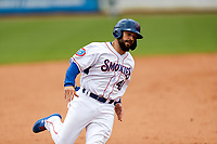 Tennessee Smokies catcher Tyler Payne (40) hustles home against the Montgomery Biscuits on May 9, 2021, at Smokies Stadium in Kodak, Tennessee. (Danny Parker/Four Seam Images)