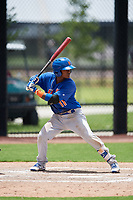 GCL Mets second baseman David Lozano (11) at bat during a game against the GCL Nationals on August 4, 2018 at FITTEAM Ballpark of the Palm Beaches in West Palm Beach, Florida.  GCL Nationals defeated GCL Mets 7-4.  (Mike Janes/Four Seam Images)