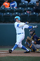 Nick Valaika (4) of the UCLA Bruins bats against the California Bears at Jackie Robinson Stadium on March 25, 2017 in Los Angeles, California. UCLA defeated California, 9-4. (Larry Goren/Four Seam Images)