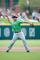 Gwinnett Stripers third baseman Austin Riley (27) throws to first base during a game against the Columbus Clippers on May 17, 2018 at Huntington Park in Columbus, Ohio.  Gwinnett defeated Columbus 6-0.  (Mike Janes/Four Seam Images)