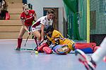 Mannheim, Germany, December 01: During the Bundesliga indoor women hockey match between Mannheimer HC and Nuernberger HTC on December 1, 2019 at Irma-Roechling-Halle in Mannheim, Germany. Final score 7-1. Lisa Schneider #21 of Mannheimer HC<br /> <br /> Foto © PIX-Sportfotos *** Foto ist honorarpflichtig! *** Auf Anfrage in hoeherer Qualitaet/Aufloesung. Belegexemplar erbeten. Veroeffentlichung ausschliesslich fuer journalistisch-publizistische Zwecke. For editorial use only.
