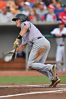 Jacksonville Suns catcher J.T. Realmuto #11 runs to first during a game against the Tennessee Smokies at Smokies Park July 10, 2014 in Kodak, Tennessee. The Suns defeated the Smokies 6-5. (Tony Farlow/Four Seam Images)