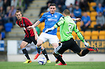 St Johnstone v FC Spartak Trnava...31.07.14  Europa League 3rd Round Qualifier<br /> Dobrivoj Rusov clears from Michael O'Halloran<br /> Picture by Graeme Hart.<br /> Copyright Perthshire Picture Agency<br /> Tel: 01738 623350  Mobile: 07990 594431
