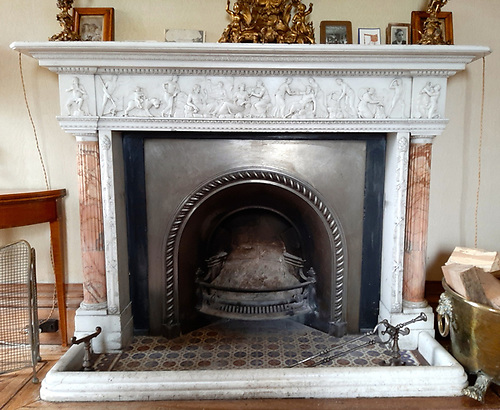 The marble fireplace in the drawing-room at Hilton Park was sailed home from Italy aboard Corsair in 1835.