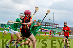 Darragh Quinlan, Ballyduff, in action against Kieran O'Carroll, Ballyduff, during the Kerry County Minor Hurling Championship Final match between Ballyduff and Ballyheigue at Austin Stack Park in Tralee, Kerry.