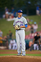 South Bend Cubs relief pitcher Ben Hecht (29) gets ready to deliver a pitch during a game against the Kane County Cougars on July 23, 2018 at Northwestern Medicine Field in Geneva, Illinois.  Kane County defeated South Bend 8-5.  (Mike Janes/Four Seam Images)