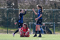 Marie Minnaert (13) of Club Brugge pictured celebrating with teammates after scoring a goal during a female soccer game between Club Brugge Dames YLA and Standard Femina de Liege on the 17 th matchday of the 2020 - 2021 season of Belgian Scooore Womens Super League , saturday 20 March 2021  in Brugge , Belgium . PHOTO SPORTPIX.BE   SPP   DAVID CATRY