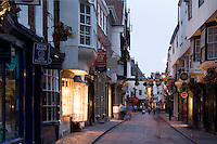 Small shops on Stonegate Street, York, England