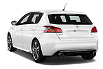 Car pictures of rear three quarter view of a 2018 Peugeot 308 GTi Base 5 Door Hatchback angular rear